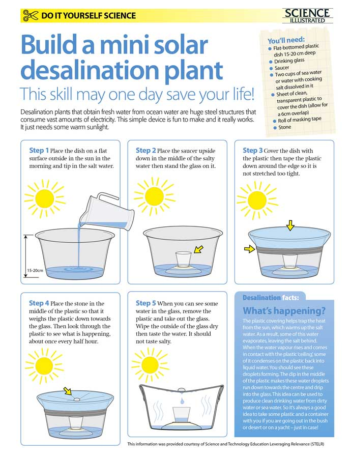 Do-it-yourself science projects: Make your own solar desalination