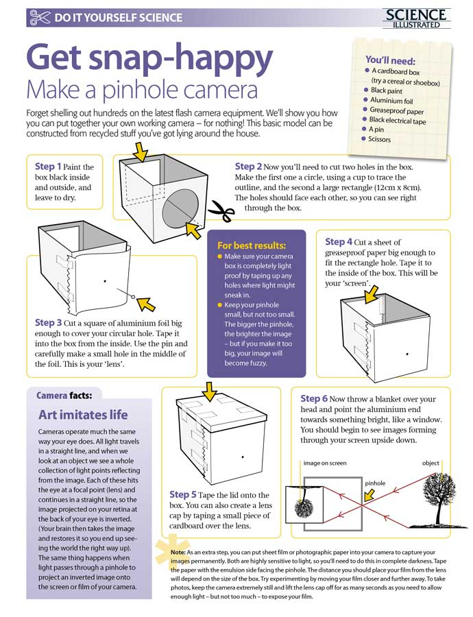 Do it yourself science projects make a pinhole camera science find more great diy projects from science illustrated on our diy page solutioingenieria Gallery