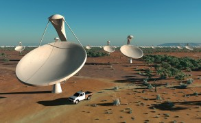 Artist's impression of dishes that will make up the SKA radio telescope. Image: Swinburne Astronomy Productions/SKA Program Development Office.