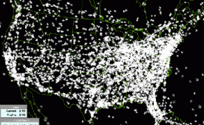 7,000 aircraft at any given time flying over the US sky. Image: Federal Aviation Administration