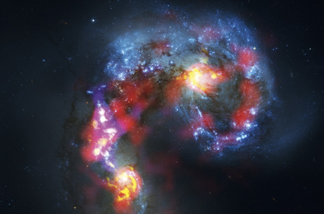 Dense, cold gas clouds  can be seen in this, the so far best submillimeter  wavelength image of the Antennae Galaxies.