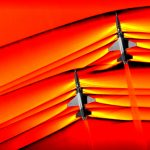 Compressed air: sonic shock waves collide